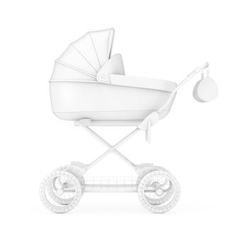 Moderne kinderwagen, kinderwagen, kinderwagen mock up in clay stijl op een witte achtergrond. 3d-rendering