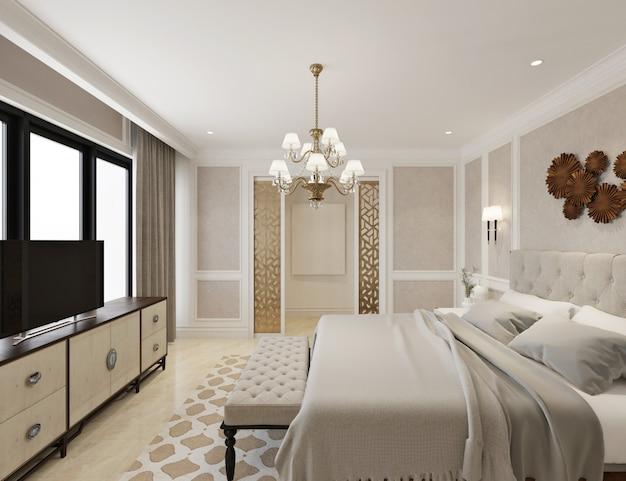 Moderne klassieke slaapkamer met dressoir, tv, kroonluchter en leeg canvas
