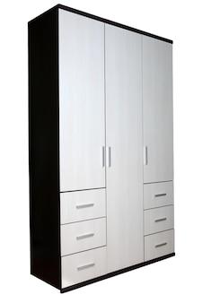 Moderne kledingkast twee kleuren, textuur wengé hout, zes laden, driezijdig.