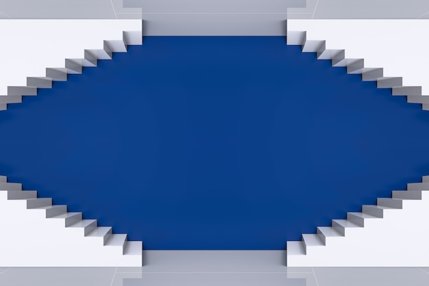 Moderne kunst witte trap frame op blauwe muur achtergrond.