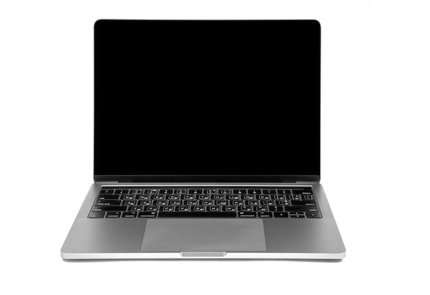 Moderne laptop computer die op de witte achtergrond wordt geïsoleerd
