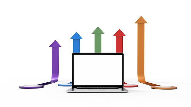 Moderne laptop die op witte achtergrond met pijlgrafiek wordt geïsoleerd. 3d-afbeelding.