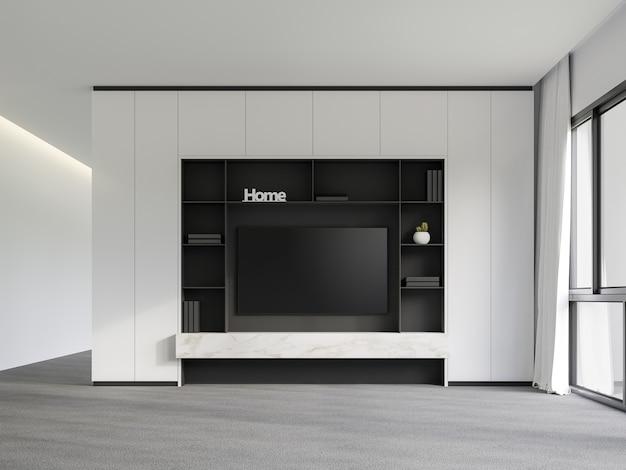 Moderne lege kamer met minimalistische tv-achtergrond 3d render de kamer heeft grijze vloerbedekking