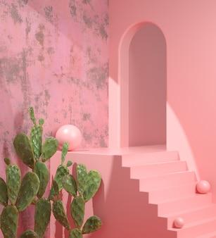 Moderne lege roze ruimte podium op stap met cactustuin abstract