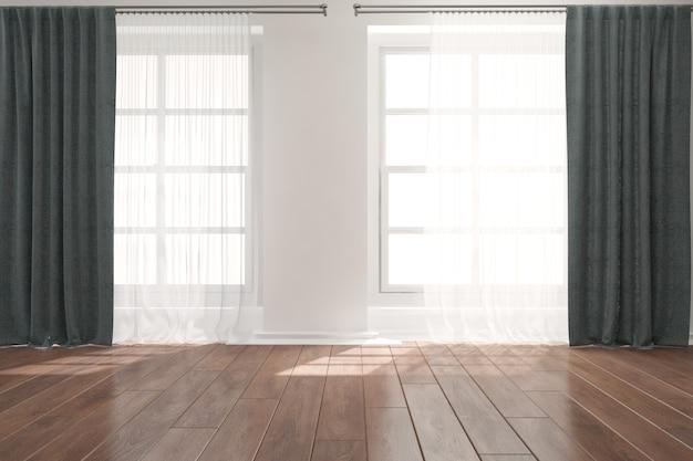Moderne lege ruimte met gordijnen interieur.