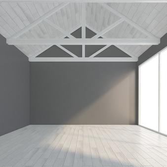 Moderne lege ruimte met grijze muur en houten vloer