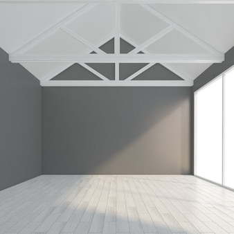 Moderne lege ruimte met grijze muur