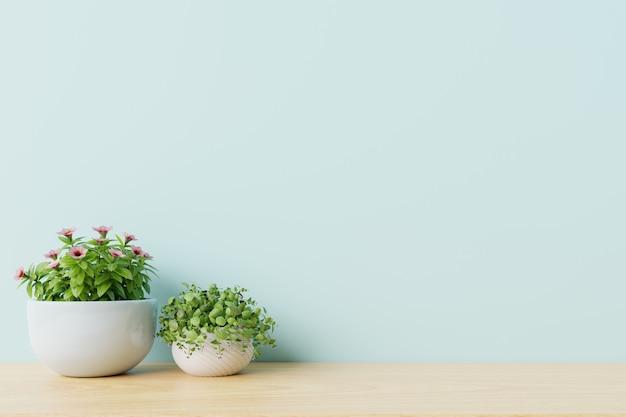Moderne lege ruimte met planten op de vloer houten, blauwe muur.