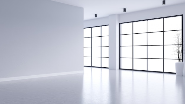 Moderne lege woonkamer interieur, witte muur en betonnen vloer met zwart frame raam