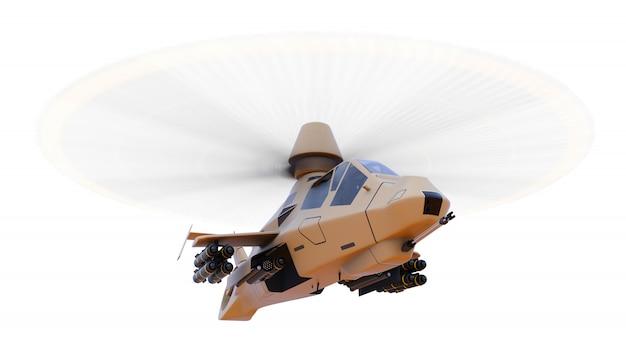 Moderne legerhelikopter tijdens de vlucht met een volledige aanvulling van wapens op een witte ruimte. 3d-afbeelding.
