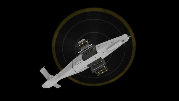 Moderne legerhelikopter tijdens de vlucht met een volledige aanvulling van wapens op een zwarte achtergrond. 3d illustratie.