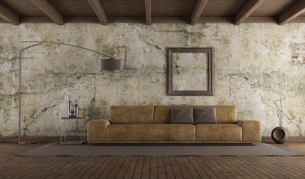 Moderne leren bank in kamer met oude muur, hardhouten vloer en houten plafond. 3d-weergave