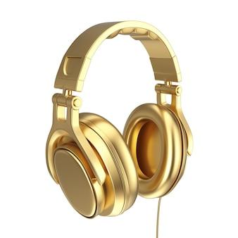 Moderne leuke tiener gouden koptelefoon op een witte achtergrond. 3d-rendering