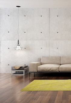 Moderne loft woonkamer interieur en betonnen muur textuur achtergrond
