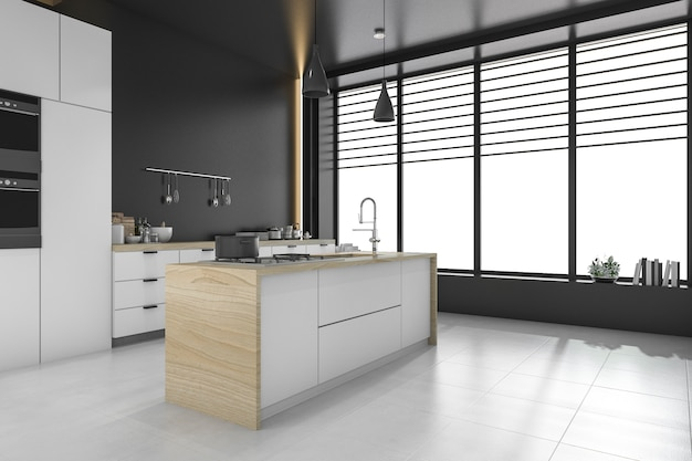 Moderne loft zwarte keuken en eetkamer
