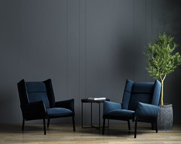 Moderne luxe donkere woonkamer interieur achtergrond met blauwe fauteuil, donkere kamer interieur mock up