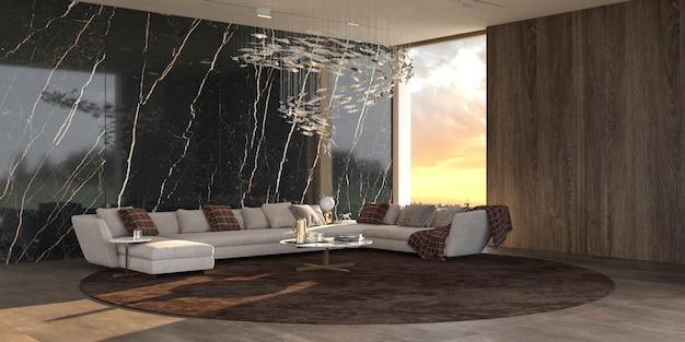 Moderne luxe interieur woonkamer met kristallen kroonluchter 3d-rendering illustratie
