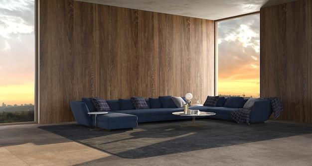 Moderne luxe interieur woonkamer met panoramische ramen 3d render illustratie
