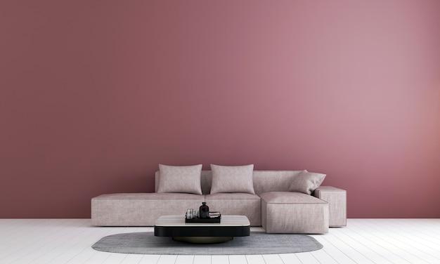 Moderne luxe lounge en woonkamer interieur en roze muur textuur