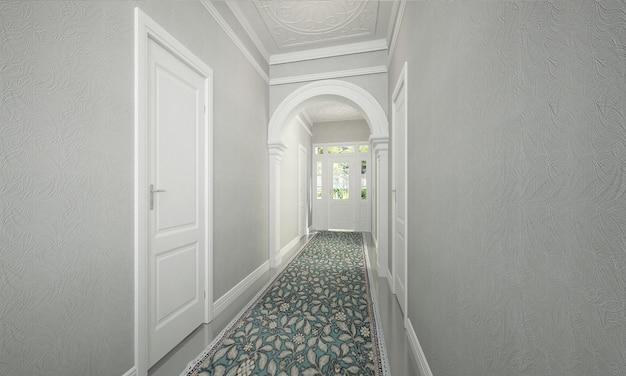 Moderne luxe mock-up interieur gang en woonkamer ontwerp en wit behang achtergrond decor 3d-rendering