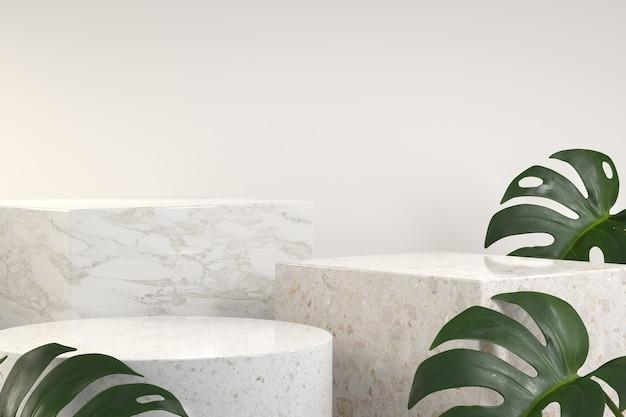 Moderne luxe podiumset met tropische monstera-plant. 3d-weergave