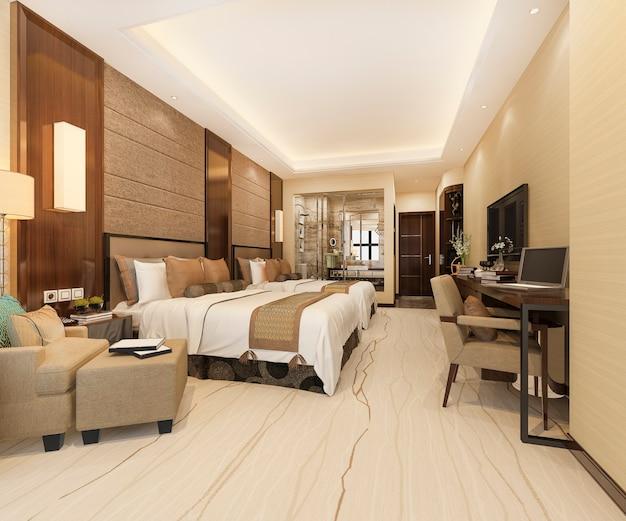 Moderne luxe slaapkamersuite en badkamer