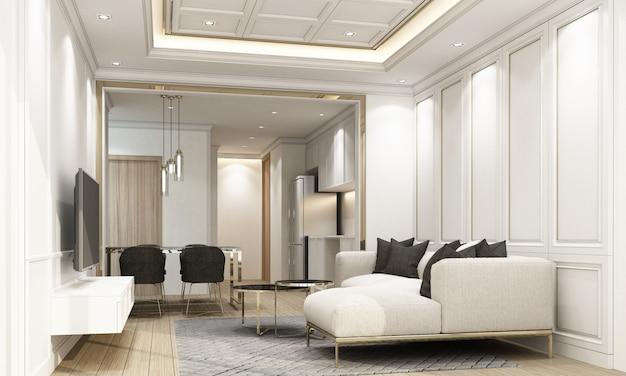 Moderne luxe van woon- en eetkamer met klassieke elementen en meubels 3d-rendering