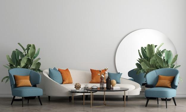 Moderne luxe witte woonkamer interieur met decoratie en lege muur mock up achtergrond, 3d-rendering, 3d illustratie