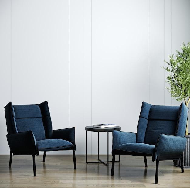 Moderne luxe woonkamer interieur, donkerblauwe fauteuil op houten vloer, lege witte muur