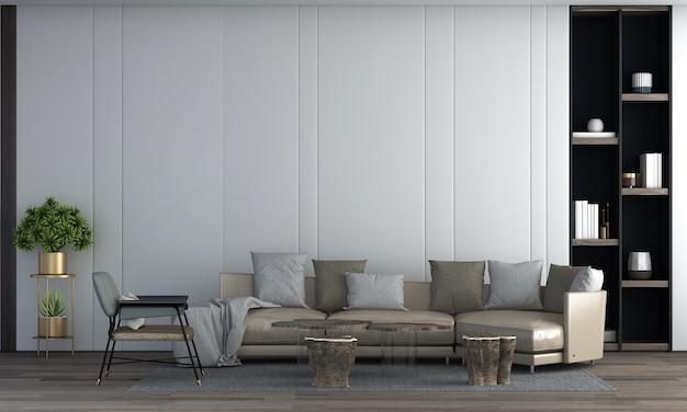 Moderne luxe woonkamer interieur en leren bank en planten en lege muur achtergrond 3d-rendering