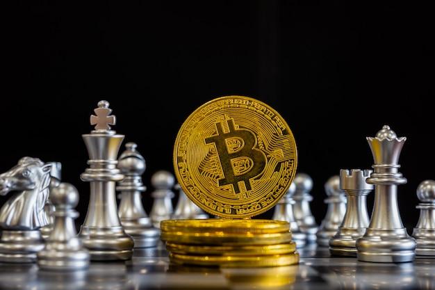 Moderne manier van ruilen. bitcoin is handig betalen in de economiemarkt. virtuele digitale valuta en financiële investeringen handel concept.