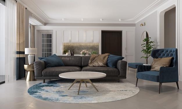Moderne mock-up en decoratie meubels van woon- en eetkamer en muur textuur achtergrond 3d-rendering