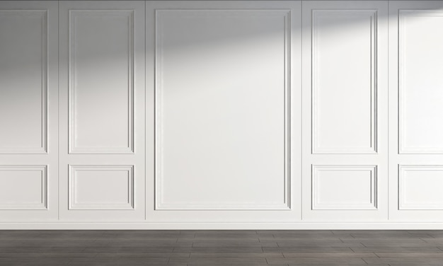 Moderne mock-up interieur woonkamer design en lege witte muur achtergrond decor en houten vloer 3d-rendering