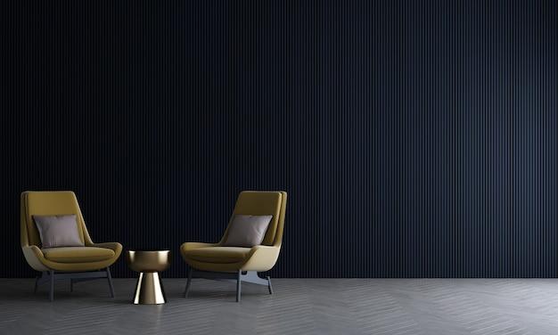 Moderne mock-up interieurdecoratie en woonkamerontwerp en lege zwarte muurtextuurachtergrond en gele bank met gouden bijzettafel 3d-rendering
