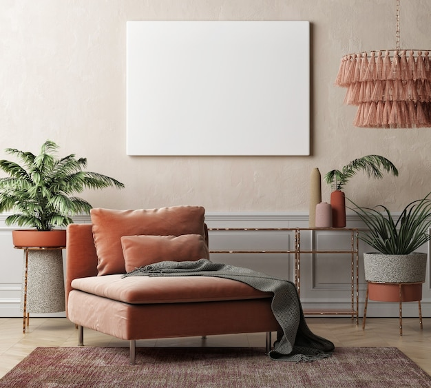 Moderne mockup interieur lege poster voor presentatie woonkamer met woondecoratie