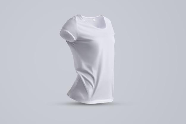 Moderne mockup met de vorm van het witte vrouwelijke t-shirt zonder lichaam geïsoleerd op de grijze achtergrond, een halve draai van het zicht. sjabloon kan worden gebruikt voor uw vitrine.