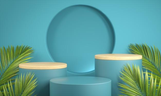 Moderne mockup platform set blauwe collectie met hout