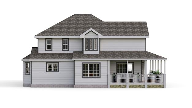Moderne mooie woning. een klassiek amerikaans huisje voor een groot gezin. 3d illustratie