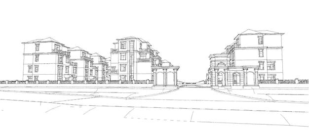 Moderne mooie woning. huisje voor een groot gezin. 3d illustratie.