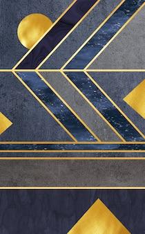 Moderne muurschildering behang gouden lijnen en donkere marmeren achtergrond 3d muur moderne frames om af te drukken