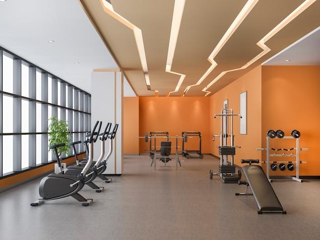 Moderne oranje loft gym en fitness