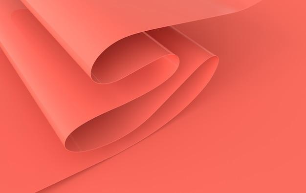 Moderne papier kunst abstract, 3d render papier golven. pastelkleurige golvende plooien