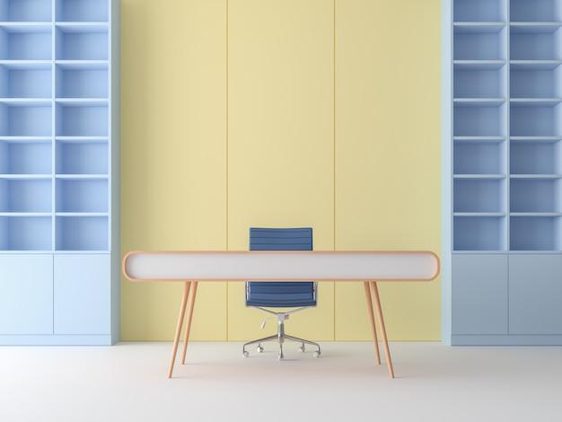 Moderne pastelkleur werkkamer 3d render