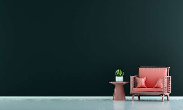 Moderne rode bankdecoratie en woonkamerinterieur en lege blauwe muurpatroonachtergrond pattern