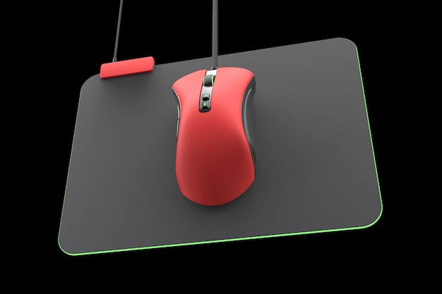 Moderne rode gamingmuis op professionele geïsoleerde pad