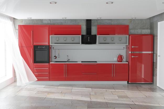 Moderne rode keukenmeubels met keukengerei interieur extreme close-up. 3d-rendering