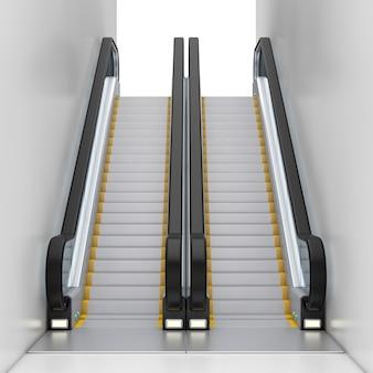 Moderne roltrap of elektrische trap tussen twee muren op een witte achtergrond. 3d-rendering