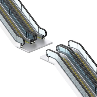 Moderne roltrap of elektrische trappen op een witte achtergrond. 3d-rendering