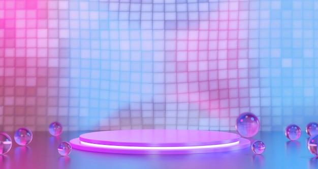 Moderne roze en blauwe standaardsjabloon voor productreclame en commerciële, 3d-rendering.