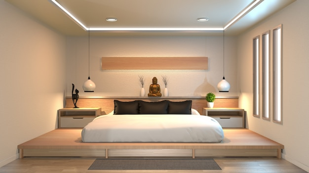 Moderne rustige slaapkamer. slaapkamer in zen stijl. rustige en serene slaapkamer.